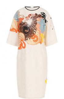 Льняное приталенное платье с принтом Dries Van Noten