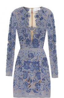 Платье-футляр с прозрачными вставками и цветочной вышивкой Zuhair Murad