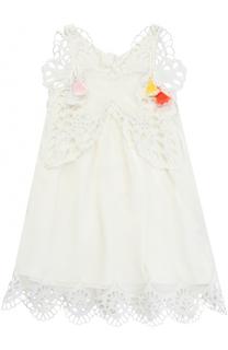 Мини-платье свободного кроя с декоративной перфорацией и кистями Chloé