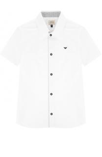 Хлопковая рубашка с логотипом бренда и коротким рукавом Giorgio Armani