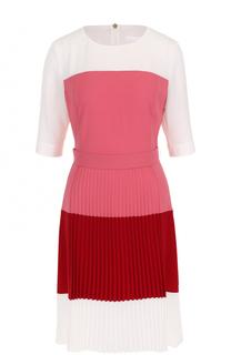 Приталенное платье-миди с плиссированной вставкой BOSS