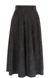 Хлопковая юбка-миди с широким поясом Yohji Yamamoto