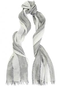 Шарф из смеси льна и вискозы в полоску Armani Jeans