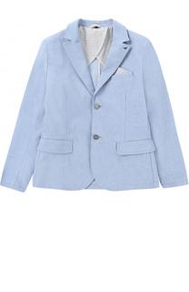 Однобортный пиджак из хлопка Giorgio Armani