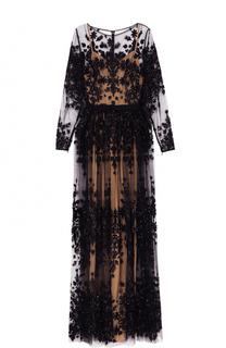 Приталенное платье-макси с контрастной вышивкой Zuhair Murad