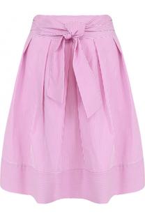 Хлопковая юбка в полоску с поясом Blugirl