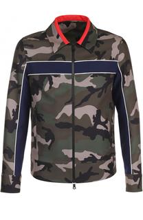 Куртка на молнии с камуфляжным принтом и контрастной отделкой Valentino