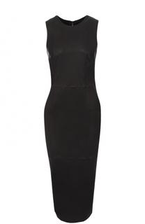 Кожаное платье-футляр без рукавов Giorgio Armani