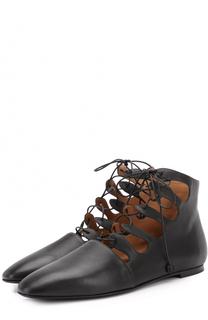 Кожаные балетки на шнуровке The Row
