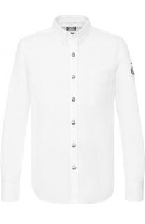 Хлопковая рубашка с воротником button down Moncler