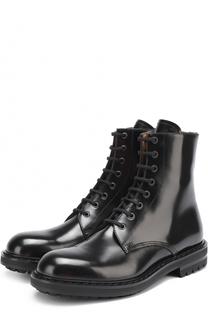 Высокие кожаные ботинки на шнуровке с круглым мысом Alexander McQueen