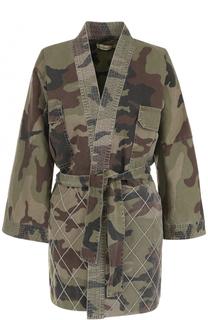 Джинсовая куртка-кимоно с камуфляжным принтом Two Women In The World