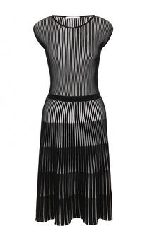 Плиссированное приталенное платье без рукавов BOSS