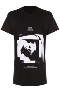 Удлиненная футболка из смеси хлопка и вискозы с принтом Julius