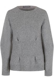 Кашемировый пуловер с круглым вырезом и защипами Alexander McQueen