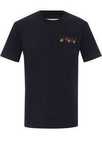 Хлопковая футболка с контрастной вышивкой Sacai