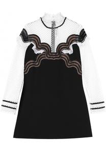 Платье с кружевными вставками и воротником-стойкой self-portrait