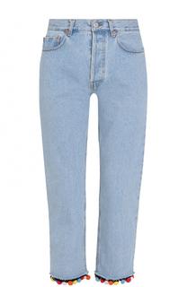 Укороченные джинсы прямого кроя с отделкой Forte Couture
