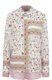 Шелковая блуза свободного кроя с цветочным принтом No. 21