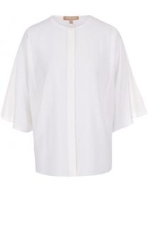 Шелковая блуза с круглым вырезом и укороченным рукавом Michael Kors