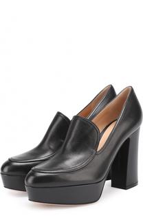 Кожаные туфли Marcel на устойчивом каблуке и платформе Gianvito Rossi
