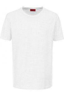 Хлопковая футболка с принтом HUGO