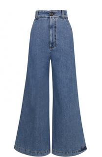 Укороченные расклешенные джинсы с потертостями Marni