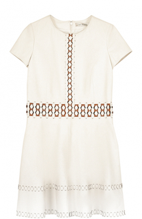 Приталенное кожаное мини-платье Yves Salomon