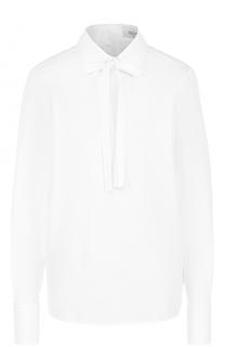 Хлопковая блуза прямого кроя с воротником аскот Valentino