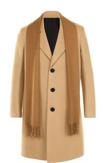 Шерстяное однобортное пальто с шарфом Neil Barrett