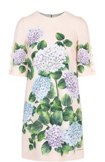 Мини-платье прямого кроя с цветочным принтом Dolce & Gabbana
