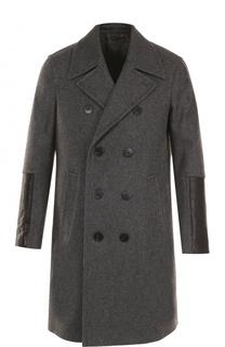 Шерстяное двубортное пальто с отделкой из натуральной кожи Neil Barrett