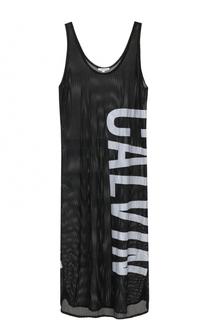 Перфорированное платье-миди с надписью Calvin Klein