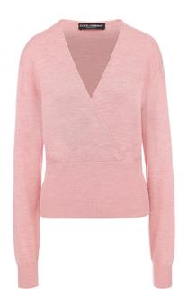 Шелковый пуловер с V-образным вырезом Dolce & Gabbana