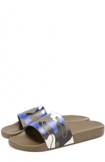 Резиновые шлепанцы с камуфляжными принтом Valentino