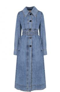 Джинсовое пальто с отложным воротником и поясом Marni