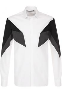 Хлопковая рубашка с контрастной отделкой Neil Barrett