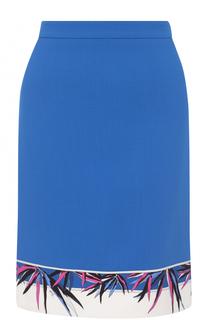 Мини-юбка с контрастной отделкой подола Emilio Pucci
