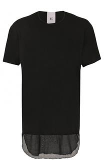 Удлиненная хлопковая футболка асимметричного кроя Lost&Found Lost&Found