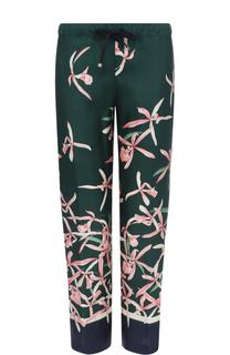 Шелковые укороченные брюки с цветочным принтом Moncler