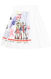 Хлопковая юбка свободного кроя с принтом и широким поясом Simonetta