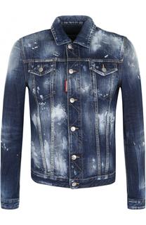 Джинсовая куртка на пуговицах с потертостями Dsquared2