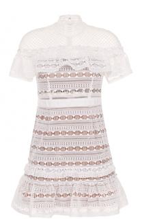 Кружевное мини-платье с коротким рукавом self-portrait