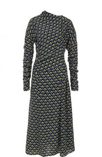 Шелковое платье-миди асимметричного кроя Marni