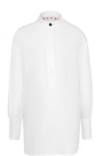 Приталенная удлиненная блуза с воротником-стойкой Marni