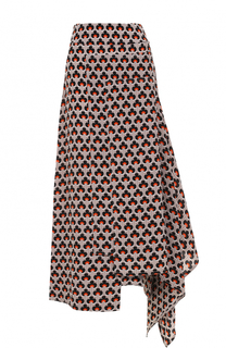 Шелковая юбка-миди асимметричного кроя Marni