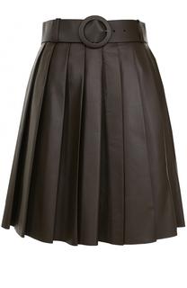 Кожаная мини-юбка в складку DROMe