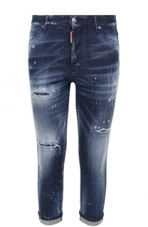 Укороченные джинсы прямого кроя с декоративными потертостями Dsquared2