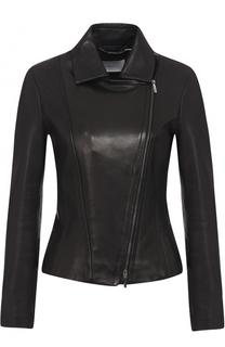 Кожаная куртка с косой молнией и отложным воротником BOSS