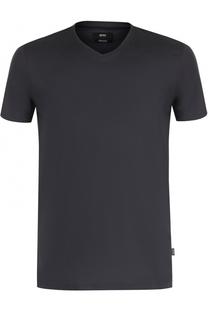 Хлопковая футболка с V-образным вырезом BOSS